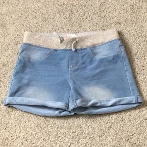 Girls shorts, So, size 8, blue and gold stretch